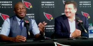 Roy Green, Michael Bidwell at the live Cardinals Press Conference