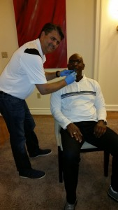 Dr Bradley Eli and Eric Dickerson at the Mandalay Bay Hotel