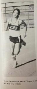 David Gergen running the 200 Meter Sprint